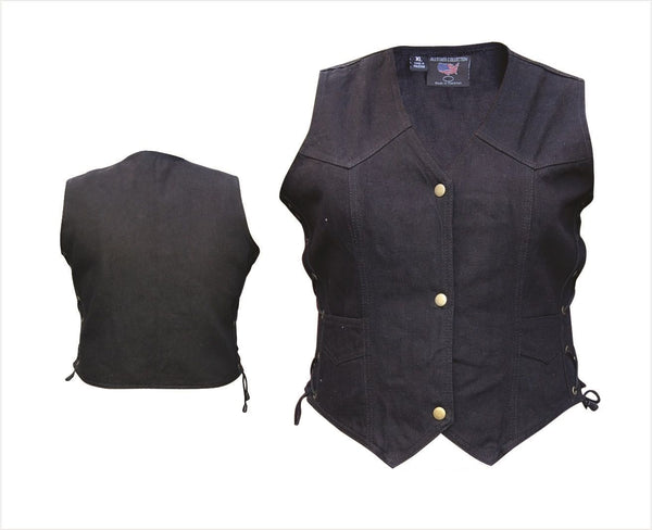 Womens Black Denim Vest with Side Laces
