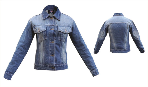 Womens Blue Denim Style Jacket with Rubbed Off Front and Back