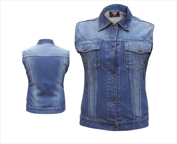 Womens Blue Sleeveless Denim Vest with Rubbed Off Front & Back