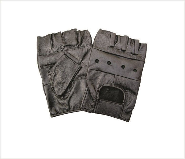 Fingerless Motorcycle Gloves with Padded Palm and Velcro Strap