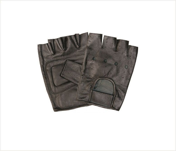 Vented Fingerless Leather Motorcycle Gloves with Padded Palms