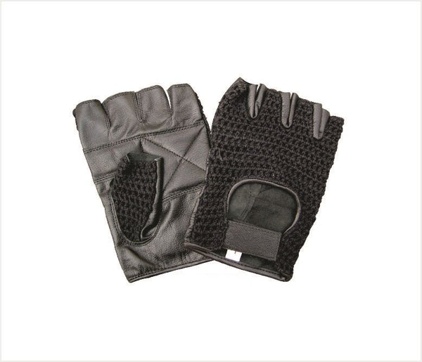 Padded Fingerless Motorcycle Gloves with Vented Mesh Fabric