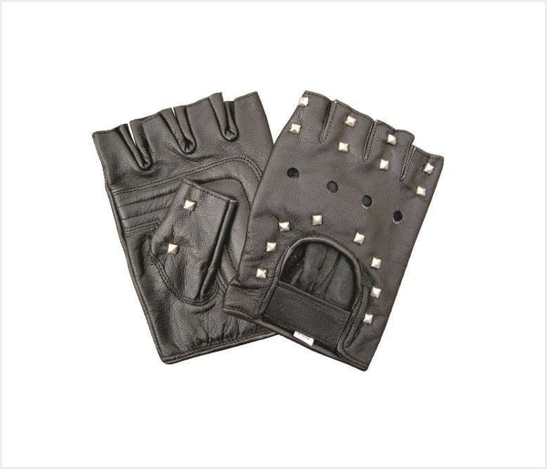Fingerless Leather Motorcycle Gloves with Studs and Velcro Strap