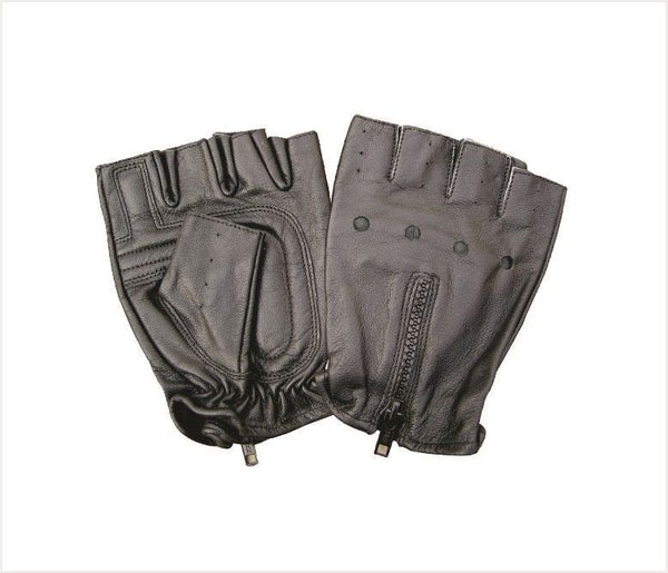 Fingerless Vented Leather Motorcycle Gloves with Zipper Back