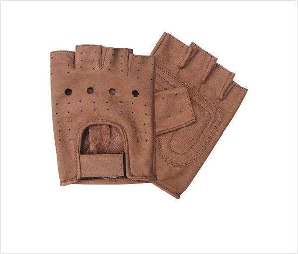 Brown Fingerless Leather Motorcycle Gloves