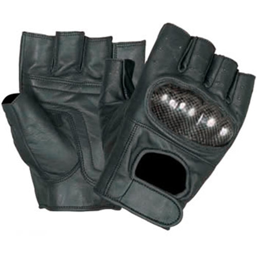 Premium Fingerless Motorcycle Gloves with Black Kevlar Knuckles