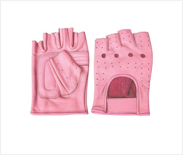 Pink Fingerless Leather Motorcycle Gloves