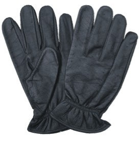 Black Vented Leather Motorcycle Gloves with Elastic Wrist