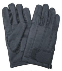 Black LINED Leather Motorcycle Gloves with Velcro Closure