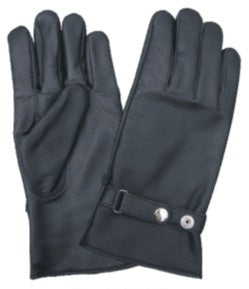 Black LINED Leather Motorcycle Gloves with Snap Adjustment Strap