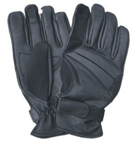 Black Vented Leather Motorcycle Gloves with Gel Palm