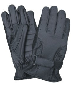 Black Leather Motorcycle Gloves with Gel Palm and Vented Fingers