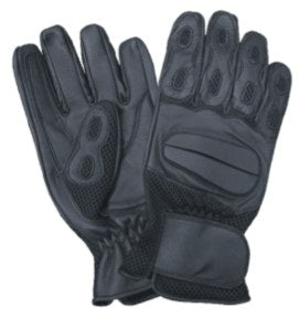 Black Leather Motorcycle Gloves with Gel Palm and Velcro Strap