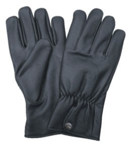 Black Leather Motorcycle Gloves with Elastic Wrist & Snap Closure