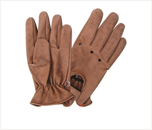 Brown Vented Leather Motorcycle Gloves with Velcro Strap