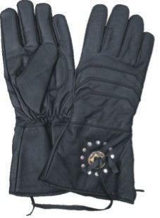 Gauntlet Leather Motorcycle Gloves with Antique Brass Conchos
