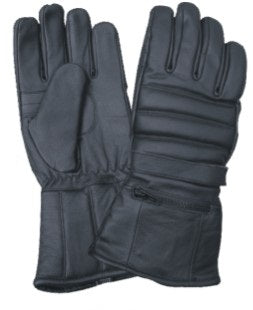 Padded Gauntlet Motorcycle Gloves with Rain Cover & Velcro Strap