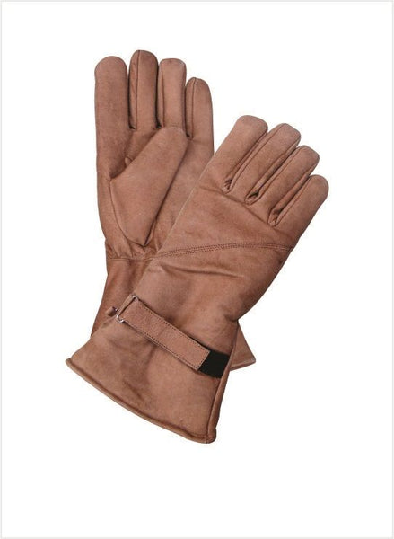 Brown Lined Gauntlet Leather Motorcycle Gloves with Velcro Strap