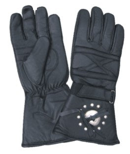 Padded Gauntlet Motorcycle Gloves with Silver Conchos and Studs