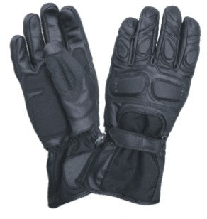 Padded Gauntlet Motorcycle Gloves with Cordura and Velcro Strap
