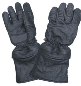 Premium Gauntlet Leather Motorcycle Gloves with Removable Cuffs