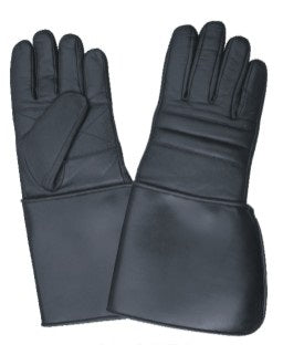 Padded Gauntlet Leather Motorcycle Gloves with PVC Cuffs
