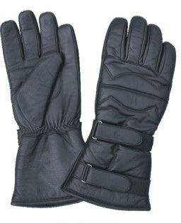 Padded Gauntlet Leather Motorcycle Gloves with 2 Velcro Tabs