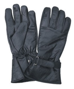 Half Gauntlet Lined Leather Motorcycle Gloves with Velcro Tab