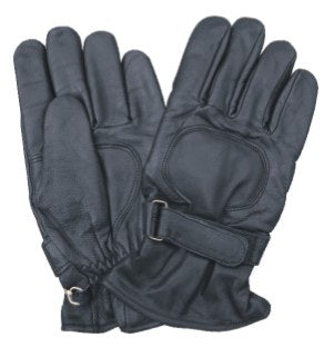 Black Lined Leather Motorcycle Gloves with Elastic Wrist Band