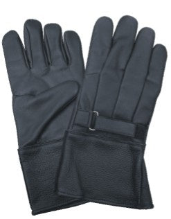 Gauntlet Lambskin Leather Motorcycle Gloves with Velcro Tab