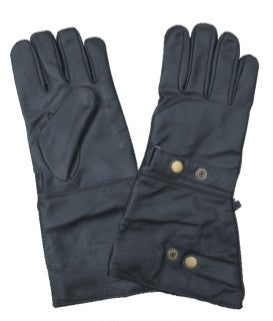 Gauntlet Leather Motorcycle Gloves with Adjustable Snaps