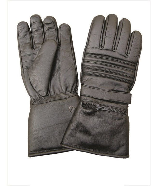 Premium Padded Gauntlet Motorcycle Gloves with Rain Covers