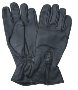 Premium Black LINED Leather Motorcycle Gloves with Zipper Cuff
