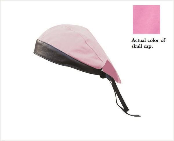 Pink Skull Cap with Black Leather Trim