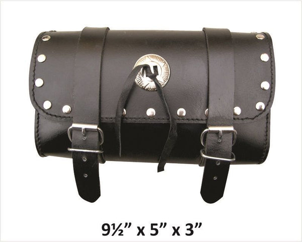 Studded Small Leather Tool Bag with Silver Concho