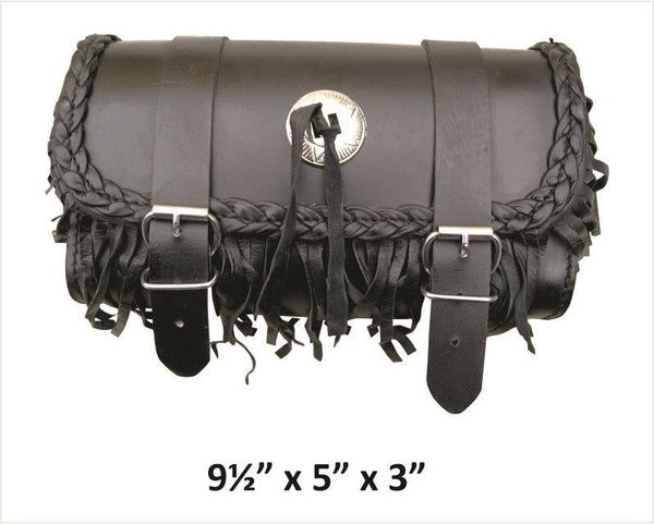 Small Leather Tool Bag with Fringe, Braid and Silver Concho