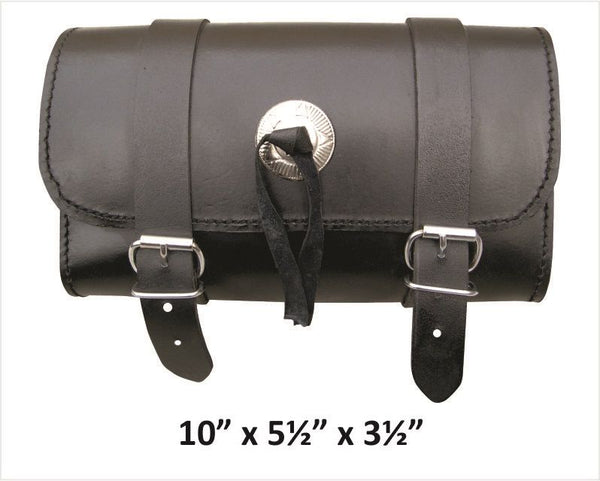 Medium Leather Tool Bag with Silver Concho