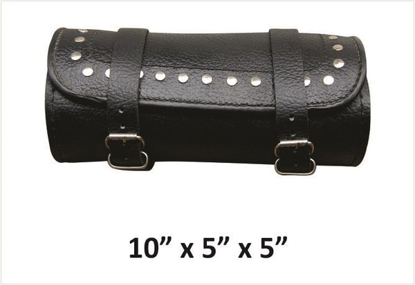 Studded Small Round Leather Tool Bag with Pebble Grain Finish