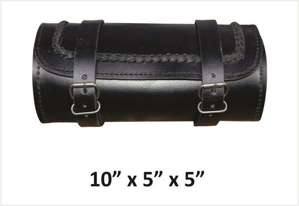 Braided Small Round Leather Tool Bag