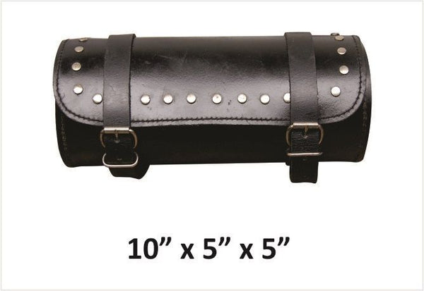 Studded Small Round Leather Tool Bag
