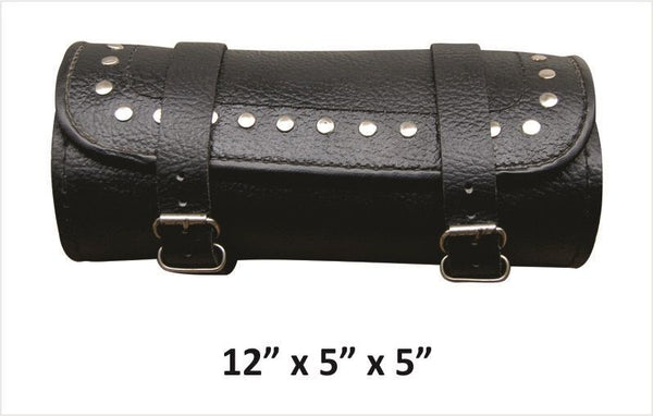 Studded Large Round Leather Tool Bag with Pebble Grain Finish