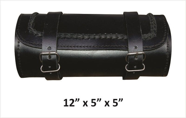 Braided Large Round Leather Tool Bag
