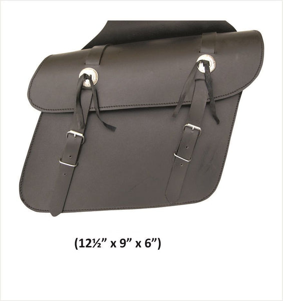 PVC Medium Plain Throw-Over Saddlebags with Zippered Flaps