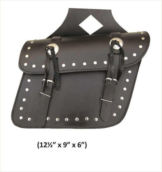 PVC Medium Studded Throw-Over Saddlebags with Zippered Flaps