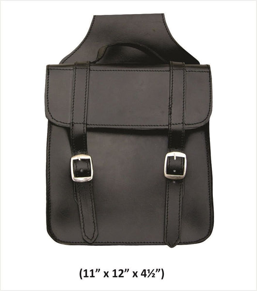 Square Plain Throw-Over Leather Saddlebags