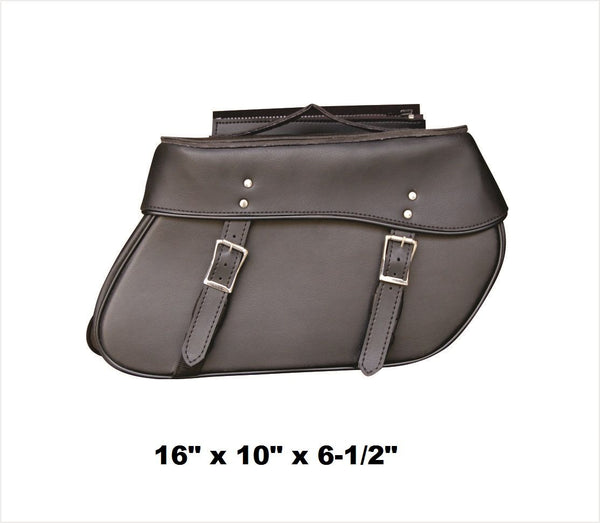PVC Plain Saddlebags with Zip-Off Flaps and Quick Release 16""