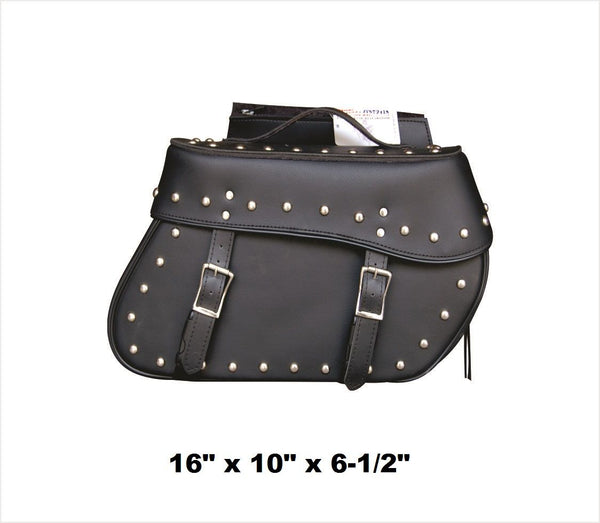 PVC Studded Saddlebags with Zip-Off Flaps and Quick Release 16""