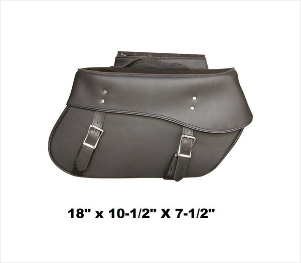 PVC Plain Saddlebags with Zip-Off Flaps and Quick Release 18""