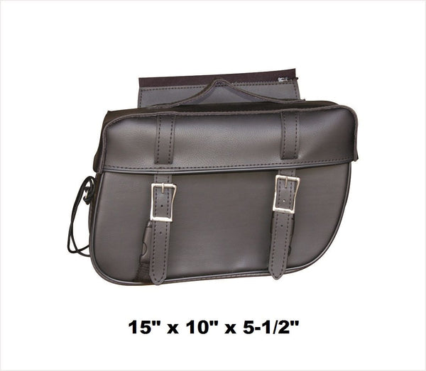 PVC Plain Saddlebags with Zip-Off Flaps and Quick Release 15""