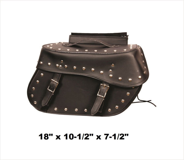 PVC Studded Saddlebags with Zip-Off Flaps and Quick Release 18""